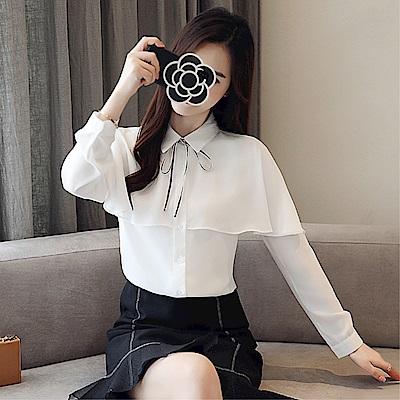 DABI 韓國風襯衫蝴蝶結領雪紡衫百搭寬松長袖上衣