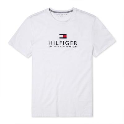 TOMMY 經典熱銷印刷大LOGO文字短袖T恤(男)-白色