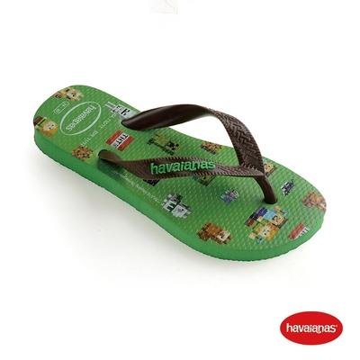 Havaianas哈瓦仕 拖鞋 夾腳拖 人字拖 巴西 童鞋 兒童 葉綠 4145125-2715K Kids Minecraft 創世紀 Top