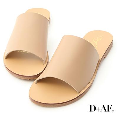 D+AF 簡約穿搭.寬版一字平底涼拖鞋*杏