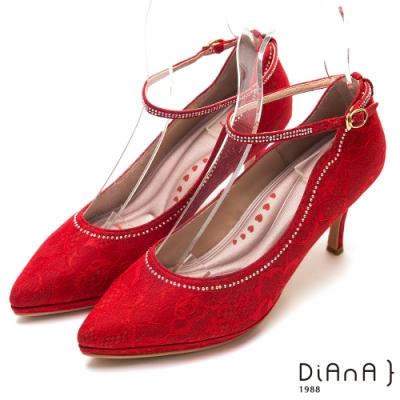 DIANA真豚皮蕾絲鑲鑽瑪莉珍尖頭細跟鞋-漫步雲端厚切輕盈美人-紅