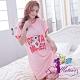 睡衣 全尺碼 英字條紋老鼠印圖短袖連身裙睡衣(活力桔紅) Sexy Meteor product thumbnail 1