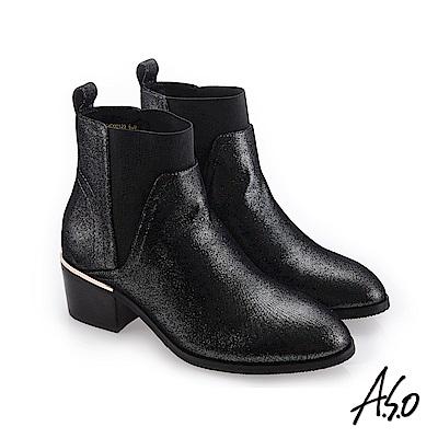 A.S.O 低調美型 彈性布靴口素面皮靴 黑軟皮