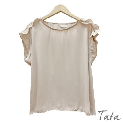 肩釘珠荷葉雪紡上衣 共二色 TATA-F
