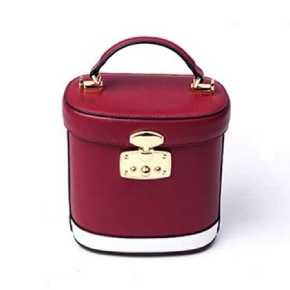 米蘭精品 手提包真皮側背包-迷你水桶撞色時尚女包情人節生日禮物73nh12