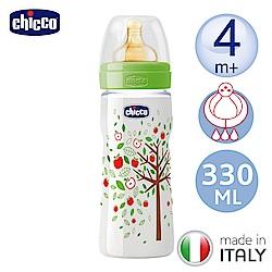 chicco舒適哺乳-自然田園乳膠PP特大奶瓶330ML-附三孔4m+奶嘴