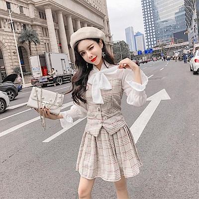 DABI 韓系蝴蝶結拼接百褶裙套裝長袖裙裝