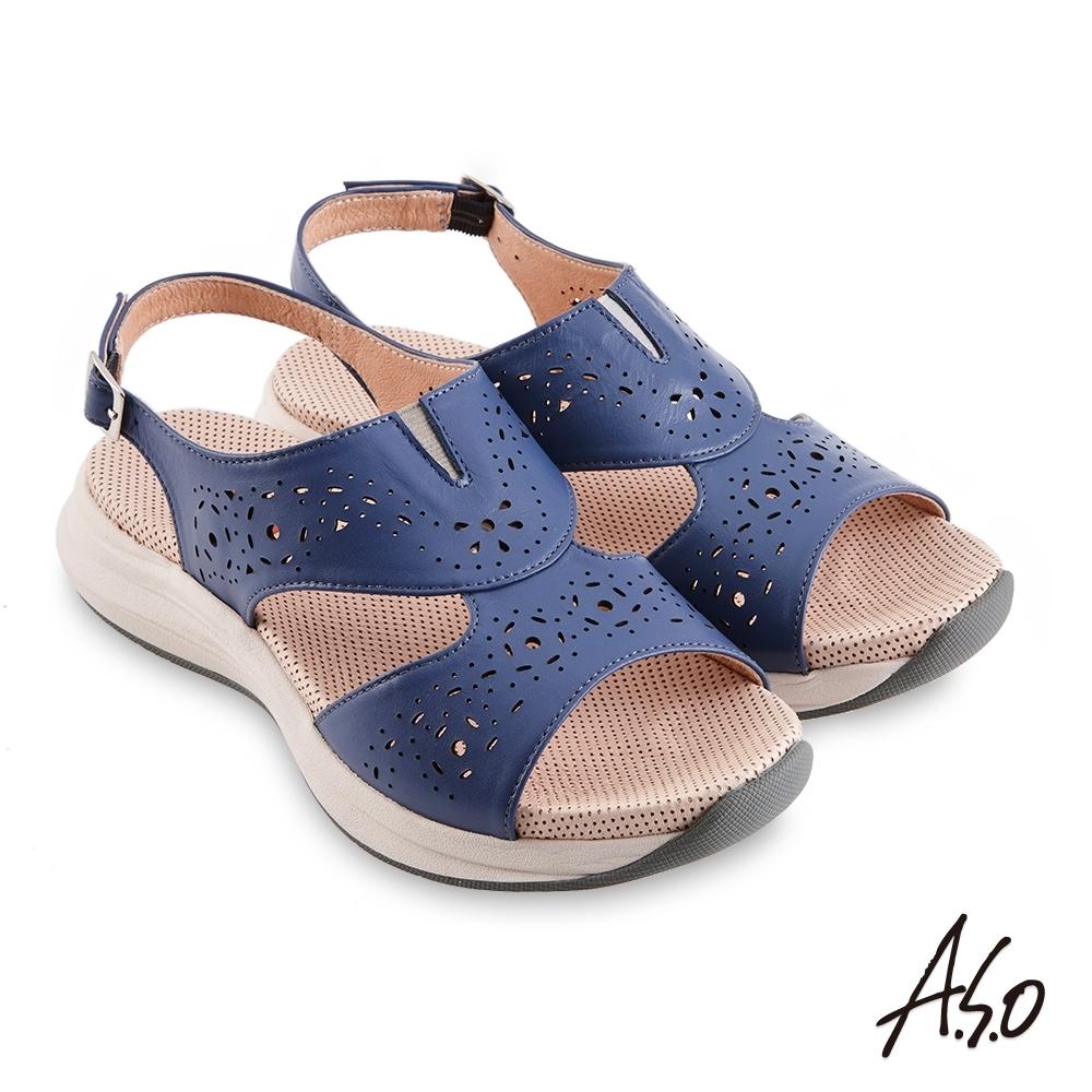 A.S.O 機能休閒 輕穩健康鞋牛皮沖孔休閒涼鞋-藍