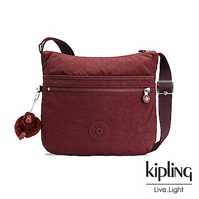 Kipling高雅酒紅前拉鍊側背包
