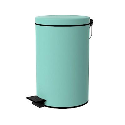 TRENY 加厚 緩降 不鏽鋼垃圾桶 12L (湖水藍)