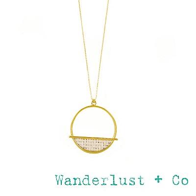 Wanderlust+Co 澳洲品牌 象牙白編織圓牌項鍊 金色長項鍊 KAI