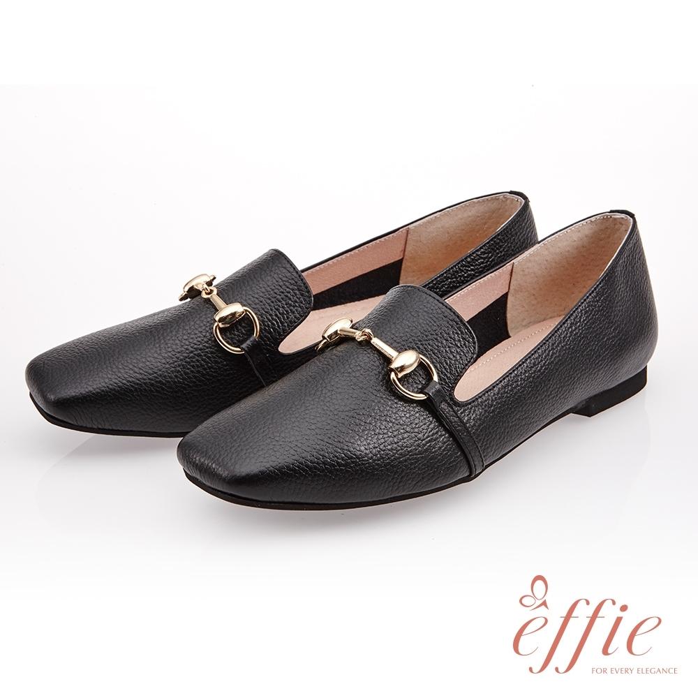 effie 艾菲小花園-經典馬銜釦樂褔平底鞋(網獨款)-黑