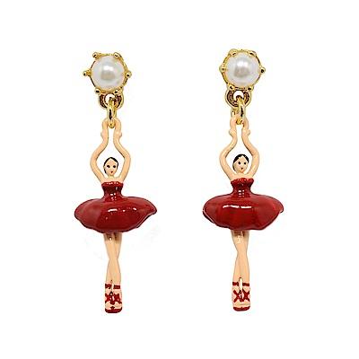 Les Nereides 優雅芭蕾舞女孩系列 白色珍珠紅色迷你舞者耳針式耳環