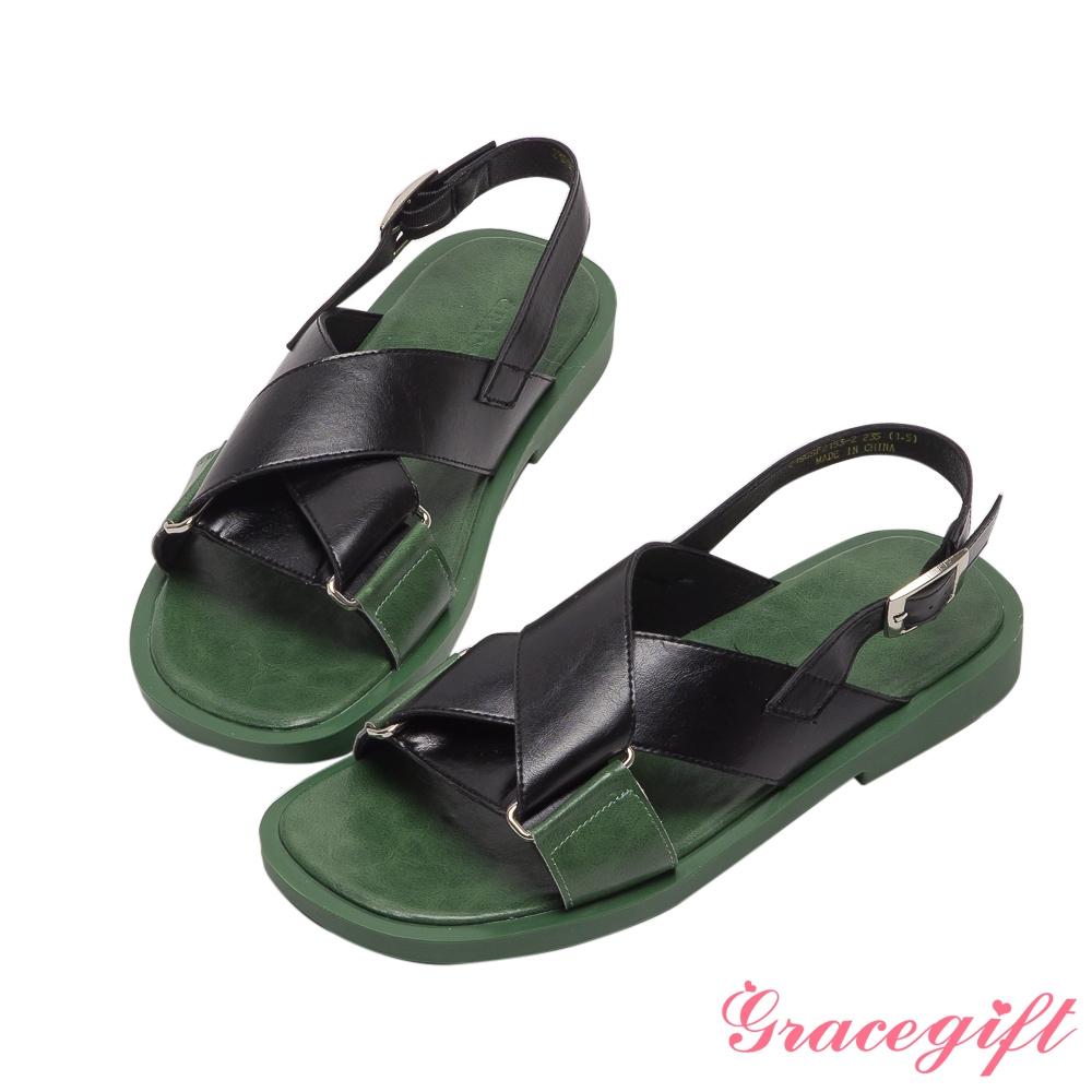 Grace gift-交叉寬帶拼接平底涼鞋 黑他料