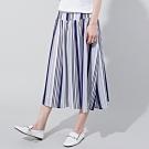 獨身貴族 航海旅程剪接條紋長裙(1色)