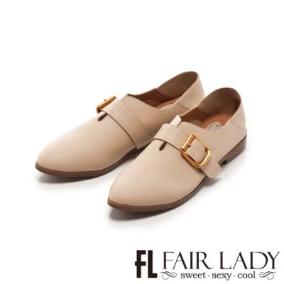 Fair Lady 懶骨頭釦帶後踩兩穿紳士平底鞋 象牙