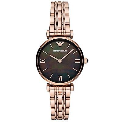 Emporio Armani 璀璨閃耀珍珠貝時尚手錶(AR11145)-玫瑰金/32mm