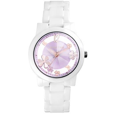 RELAX TIME Garden系列 鏤空陶瓷腕錶 RT-80-6 白X紫/38mm