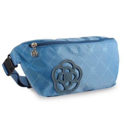CLATHAS 山茶花裝飾菱格紋尼龍兩用腰包-水藍色