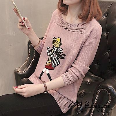 少女刺繡圓領針織衫-共6色(F可選)   初色
