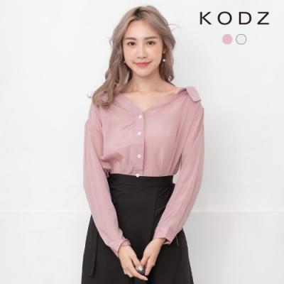 東京著衣-KODZ 性感甜心大V領排釦長袖襯衫-S.M.L(共二色)