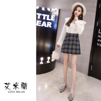 艾米蘭-雙排扣格紋造型短裙-2色S