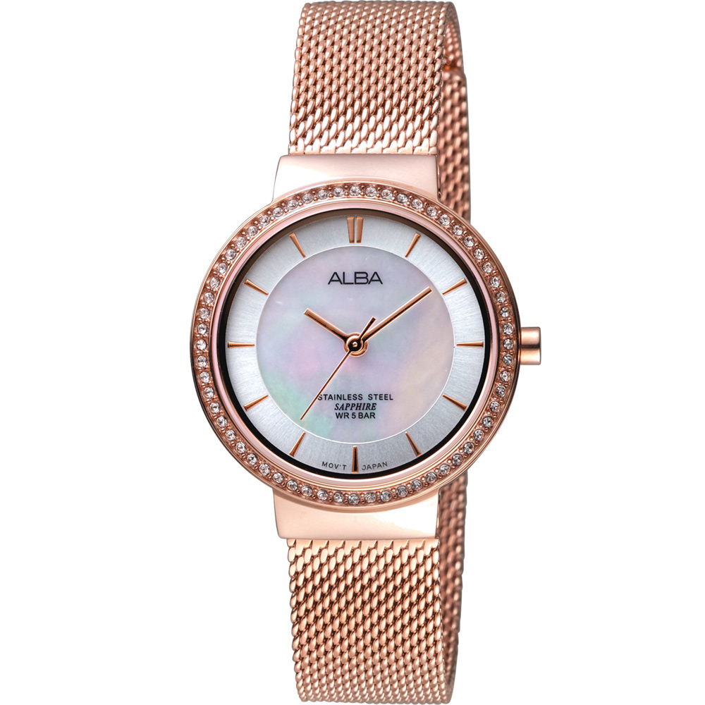 ALBA雅柏璀璨新生時尚腕錶(VJ21-X132K AH8496X1)