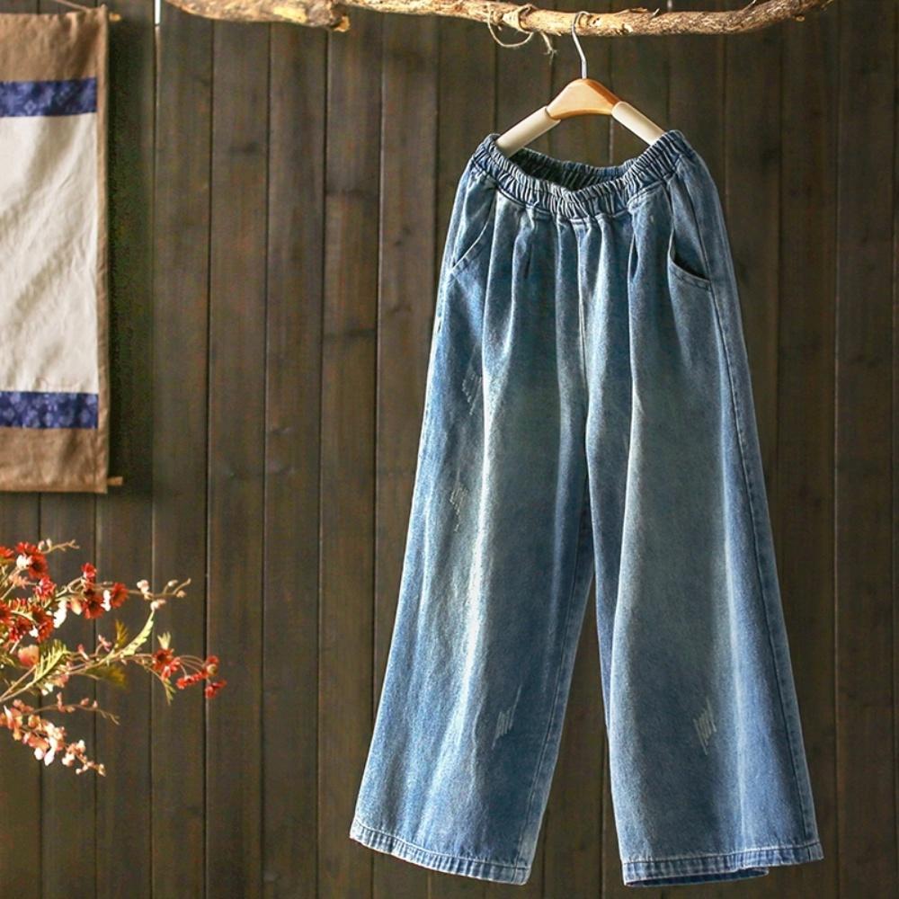 文藝水洗破洞寬管牛仔寬鬆九分褲-設計所在