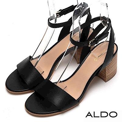 ALDO 原色真皮一字鞋面金屬釦帶粗跟涼鞋~尊爵黑色