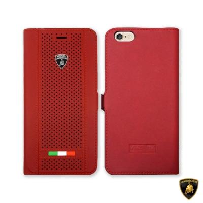 Lamborghini 藍寶堅尼 iPhone SE2 / 8 / 7 磁扣式可插卡透氣皮套 - 酒紅