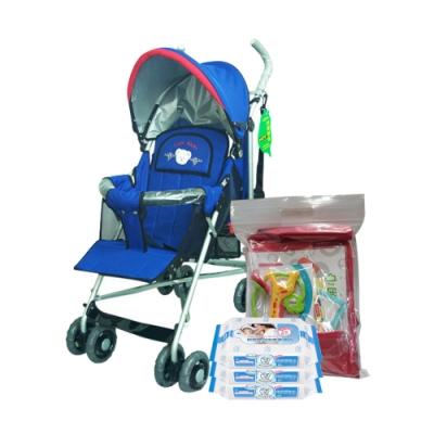 IAN BABY 833可180度平躺傘車(寶藍)+貝恩嬰兒保養柔濕巾20抽<b>3</b>入 贈 費雪大禮包