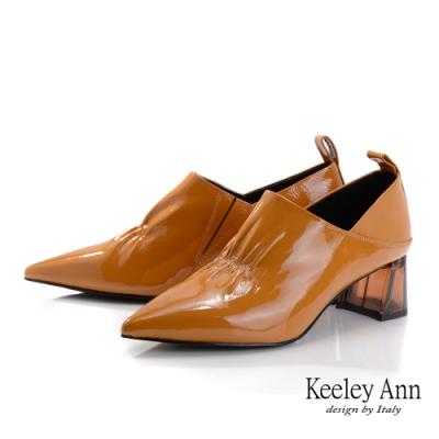 Keeley Ann極簡魅力 抓皺V口造型透視跟包鞋(芥末黃色-Ann系列)