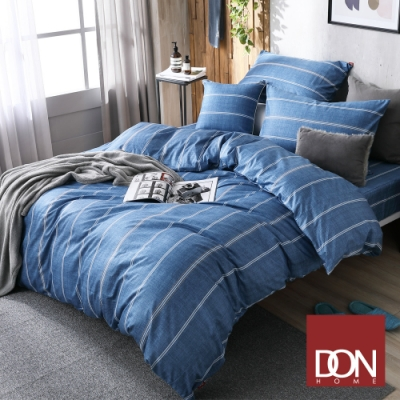 DON 極簡日常 單人四件式200織精梳純棉被套床包組-線條-牛仔藍