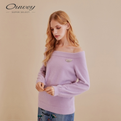 OUWEY歐薇 仿貂絨羽毛紗鑲鑽胸針上衣(紫)