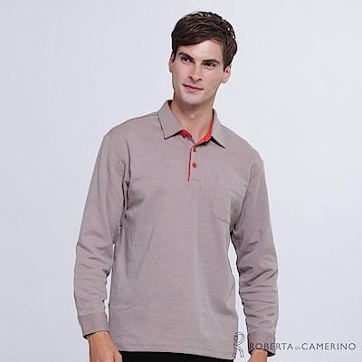 ROBERTA諾貝達 日本進口 簡約百搭 素面長袖POLO棉衫  灰褐澄