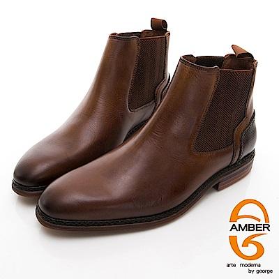 【AMBER】 都會時尚 葡萄牙進口直套式尖頭低跟踝靴-棕色