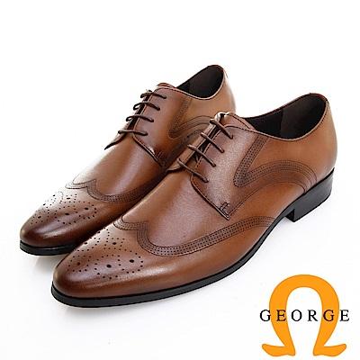 GEORGE 喬治皮鞋 職人系列 漸層刷色翼紋雕花牛津鞋 -咖
