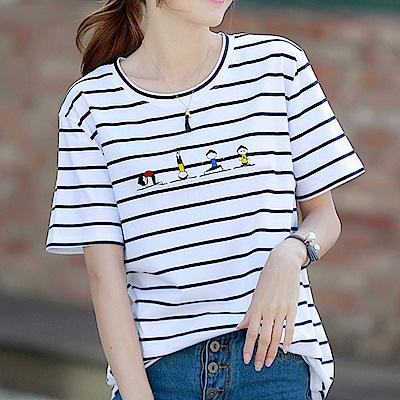 初色  圓領條紋刺繡上衣-白色條紋(M-2XL可選)
