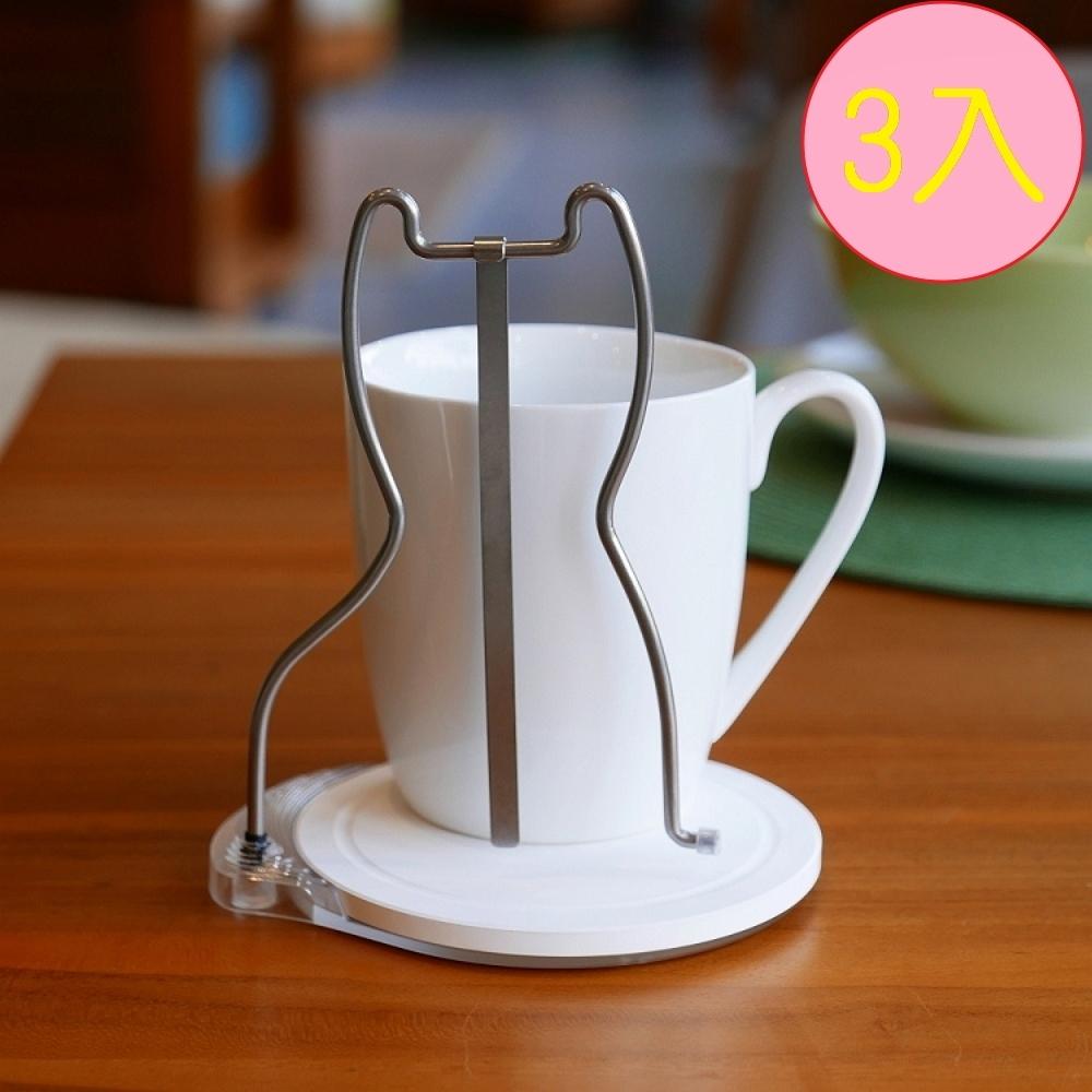 歐士OSHI 轉杯架 (貓) 附贈馬克杯-3入組/吸水杯墊/不鏽鋼杯架/攪拌棒
