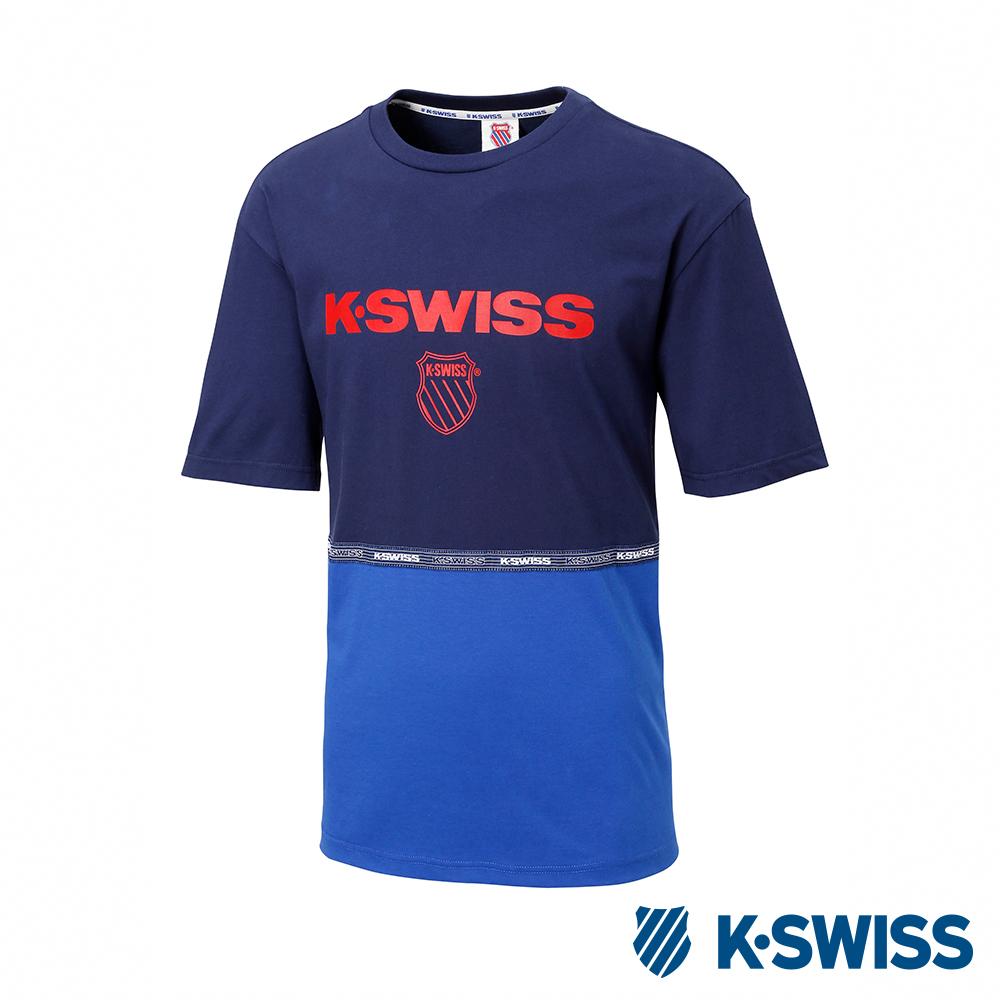 K-SWISS Soft Cool T-Shirt 印花短袖T恤-男-藍
