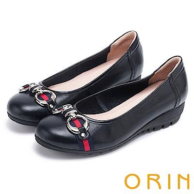 ORIN 輕熟魅力 條紋緞帶牛皮厚底娃娃鞋-黑色