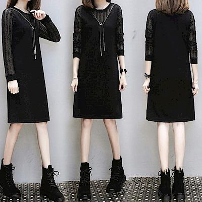 中大尺碼假兩件金蔥條紋拼接附項鍊黑色洋裝XL~4L-Ballet Dolly