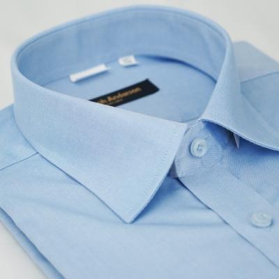 【金‧安德森】暗藍色純棉易整燙窄版長袖襯衫fast