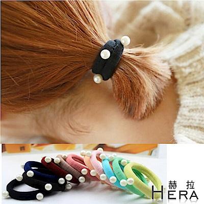 Hera 赫拉 珍珠寬版毛巾髮圈10入組-隨機