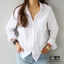 JILLI-KO 簡約純色寬鬆顯瘦翻領襯衫- 白色