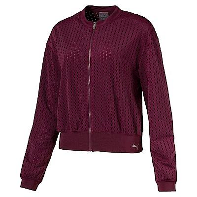 PUMA-女性訓練系列大網洞立領外套-濃暗紅-亞規