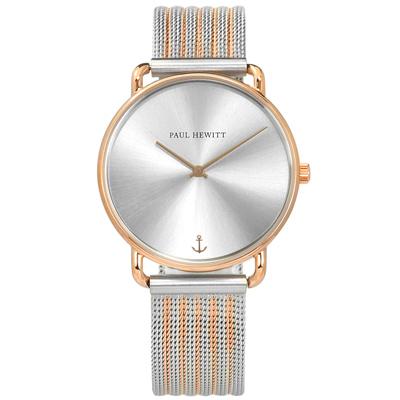 PH PAUL HEWITT 藍寶石水晶玻璃 米蘭編織不鏽鋼手錶-銀x鍍玫瑰金/33mm