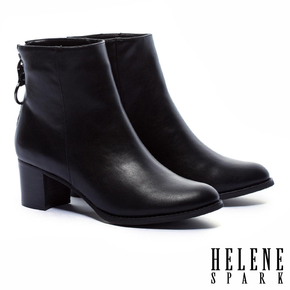 短靴 HELENE SPARK 極簡質感純色皮革粗跟短靴-黑
