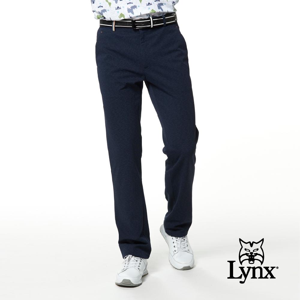 【Lynx Golf】男款日本進口布料織帶褲耳設計迷彩花紋平口休閒長褲-藍色