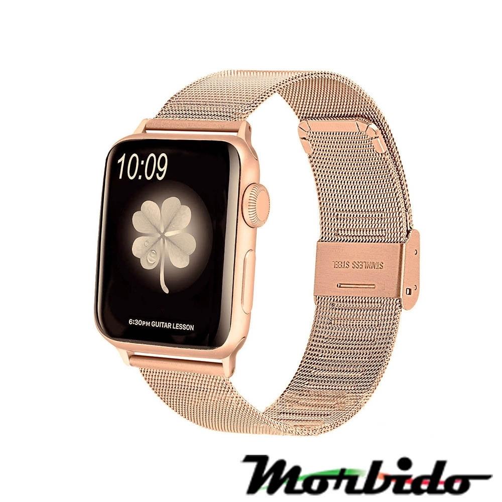 Morbido蒙彼多 Apple Watch 38mm不鏽鋼編織卡扣式錶帶
